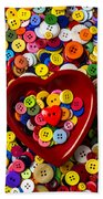 Heart Bowl With Buttons Beach Towel