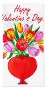 Heart Full Of Tulips Valentine Bouquet  Beach Towel