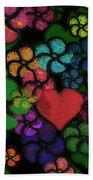 Heart In Flowers Beach Towel