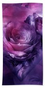 Heart Of A Rose - Burgundy Purple Beach Towel