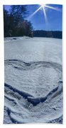 Heart Outlined On Snow On Topw Of Frozen Lake Beach Towel