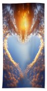 Heart Shape On Sunset Sky Beach Towel