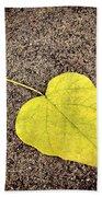 Heart Shaped Leaf On Pavement Beach Towel
