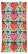 Hearts A'la Stained Glass Beach Towel