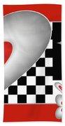 Hearts On A Chessboard Beach Towel