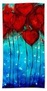 Hearts On Fire - Romantic Art By Sharon Cummings Beach Sheet