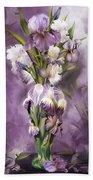 Heirloom Iris In Iris Vase Beach Towel