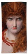 Helen Of Troy Beach Towel by Anthony Frederick Augustus Sandys