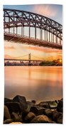 Hell Gate And Triboro Bridge At Sunset Beach Towel