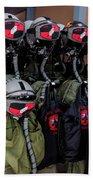 Helmets And Flight Gear Of Hellenic Air Beach Towel