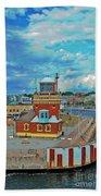Helsingborg Lighthouse Hdr Beach Towel