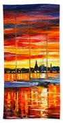 Helsinki Sailboats At Yacht Club Beach Towel by Leonid Afremov
