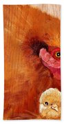 Hen With Chick On Wood Beach Towel