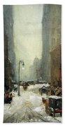 Henri's Snow In New York Beach Towel