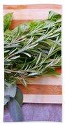 Herbs On Cutting Board Beach Towel