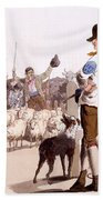 Herdsmen Of Sheep And Cattle, From The Beach Towel by William Henry Pyne