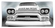 Here Comes The Sun - Gmc 100 Pickup 1958 Black And White Beach Towel