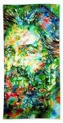 Herman Melville Watercolor Portrait Beach Towel