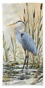 Heron And Cattails Beach Sheet