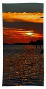 Heron And Seagull Sunset I Mlo Beach Towel