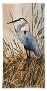 Heron In Tall Grass Beach Towel