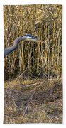 Heron In The Grass Beach Towel