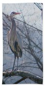 Heron Looking Out Beach Towel