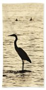 Heron Standing In Water Beach Towel
