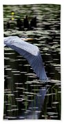 Heron Take Off Beach Towel
