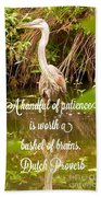 Heron With Quote Photograph  Beach Towel