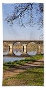 Hexham Bridge And Riverside Path Beach Towel
