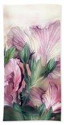 Hibiscus Sky - Pastel Pink Tones Beach Towel