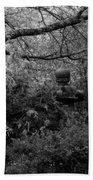 Hidden Garden In Black And White Beach Towel