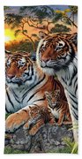 Hidden Images - Tigers Beach Towel by Steve Read