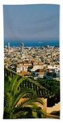 High Angle View Of A City, Barcelona Beach Towel
