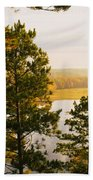 High Angle View Of A River, Ausable Beach Towel