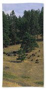 High Angle View Of Bisons Grazing Beach Towel