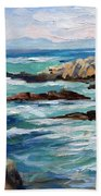 High Surf Asilomar Beach Beach Towel