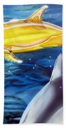 High Tech Dolphins Beach Towel by Thomas J Herring