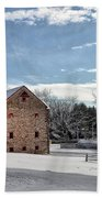 Highland Farms In The Snow Beach Towel