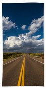 Highway Life - Blue Sky Down The Road In Oklahoma Beach Towel
