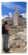 Hiker And Directions Beach Towel