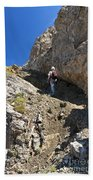 hiker in Dolomites Beach Towel