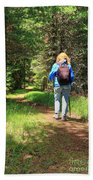 Hiker In The Forest Beach Towel