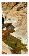 Hiker On Window Trail In Chisos Basin In Big Bend National Park-texas   Beach Towel