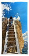 Hiker On Wooden Staircase Beach Towel