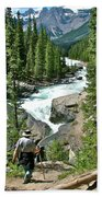 Hiking In Mistaya Canyon Along Icefield Parkway In Alberta Beach Towel