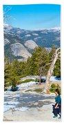 Hiking On Barren Rock On Sentinel Dome In Yosemite Np-ca Beach Towel