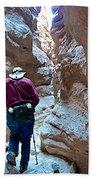 Hiking Through Narrow Slot Of Ladder Canyon Trail In Mecca Hills-ca Beach Towel