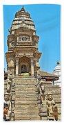 Hindu Temples In Bhaktapur Durbar Square In Bhaktapur-nepal Beach Towel